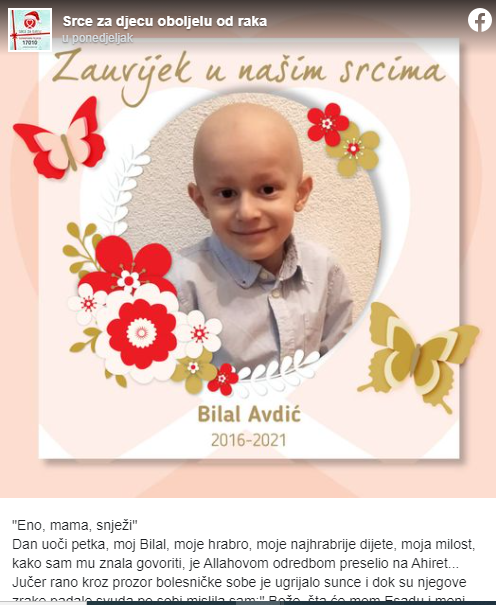 Otišao je maleni Bilal: Eno mama snježi, mamice, uči mi..